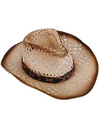 Men & Women's Woven Straw Cowboy Hat w/Hat Band Décor