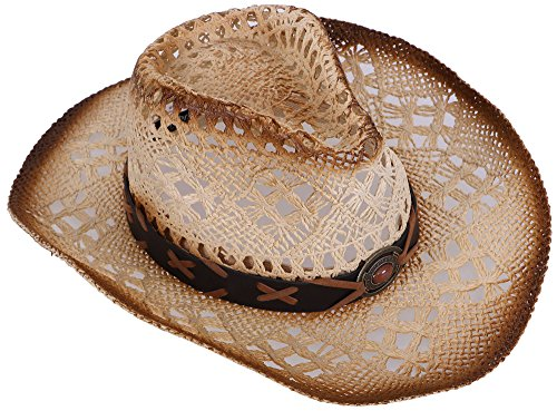 54806742a76a8f Galleon - Livingston Men & Women's Woven Straw Cowboy Hat W/Hat Band Décor,  Bead Nature