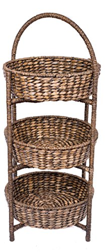 BirdRock Home 3 Tier Woven Shelf with Round Seagrass Baskets | Removable Baskets | Decorative Tower | Multipurpose | Easily Stores Household Items | Natural Design