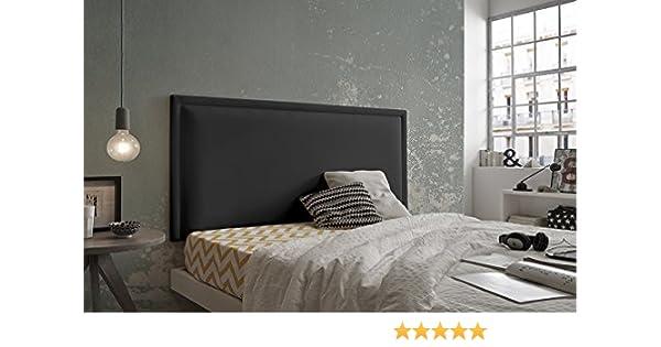 Living Sofa CABECERO Doble Marco Luxury DE Alta Gama TAPIZADO EN Micro Piel Color Negro 160 x 60 Todas Las Medidas