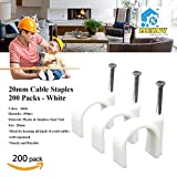 Mekov, 200pcs 20mm Cable Staples Plastic Cable Wire Clips Wire Cord Holder for Cable Management (200pcs, 20mm)