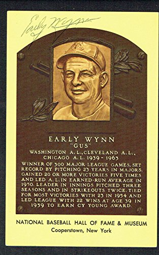 Early Wynn signed autograph Baseball Hall of Fame Gold Plaque Postcard