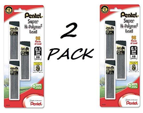 Pentel Super Hi-Polymer Lead Refills, 0.5 mm, 90 Pieces (C25BPHB3-K6) 2 PACK by Pentel 90 Leads