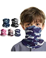 VULKIT 5 Pack Kids Neck Gaiter Camouflage Face Scarf Bandanas Breathable Headband UV Protection for Outdoor Activities