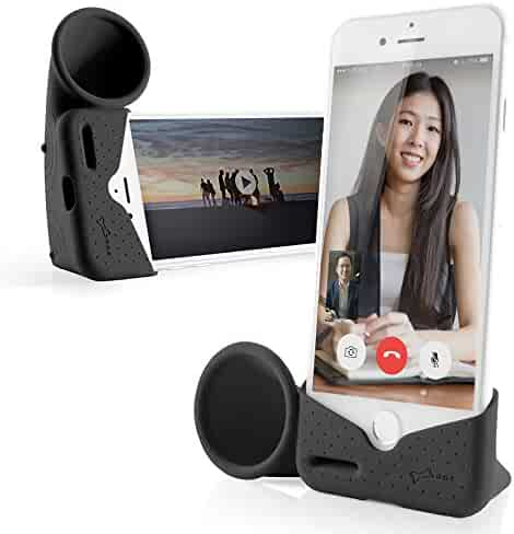 Bone Collection Acoustic Sound Amplifier Phone Stand Audio Dock Portable Speaker Desktop Cradle for iPhone 11 & 11 Pro Max, XR & XS Max, iPhone 8 7 6 6s Plus ONLY, Horn Stand Series - Black (Large)