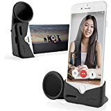 Bone Collection Acoustic Sound Amplifier Phone Stand Audio Dock Portable Speaker Desktop Cradle Holder for iPhone Xs Max, iPhone XR, iPhone 8 7 6 6s Plus ONLY, Horn Stand Series - Black (Large)