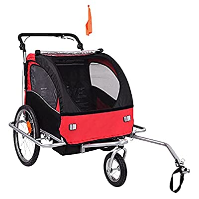 Image of Baby Diego Bike Trailer/Jogger, Red/Black Baby