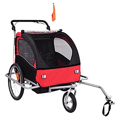 BabyDiego Bike Trailer/Jogger, Red/Black