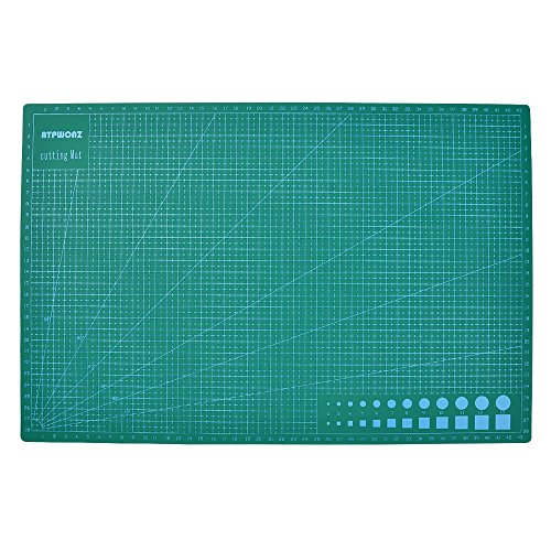 ATPWONZ 5Ply 18''x12'' Professional Self-Healing Cutting Mat Double Sided Thick Cutting Board for Quilting Sewing & Arts Crafts Jobs(A3, Green) A3 Rubber