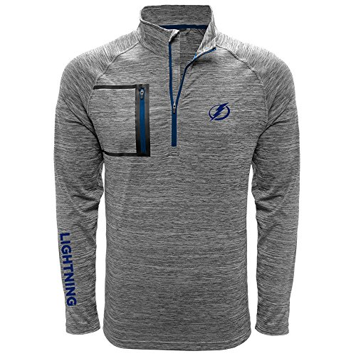 NHL Tampa Bay Lightning Men's Vault Wordmark Quarter Zip Mid-Layer Apparel, Small, Heather Charcoal/Royal