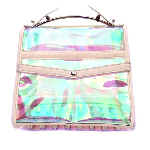 16 Holowood Clear Holographic Studded Satchel (white) H1200