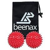 BEENAX Spiky Massage Ball (Set of 2) - 3 Inch - Perfect for Plantar Fasciitis, Foot, Hand, Back Massage, Self-Massage, Deep Tissue Massage, Acupressure, Trigger Point and Stress Reflexology