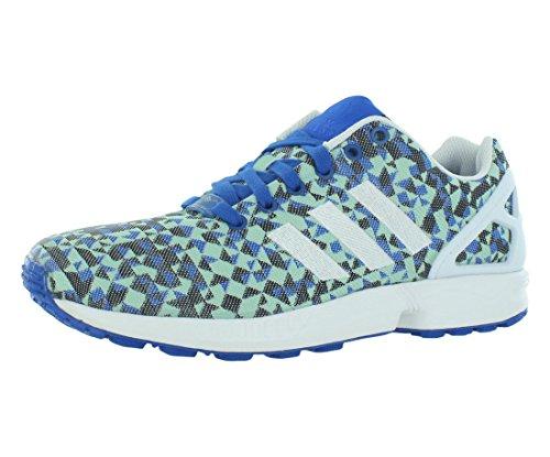 adidas Men's ZX Flux Weave Blue/White/Black Mesh Running Shoes 10 M US