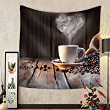 Niasjnfu Chen Custom tapestry Traditional Coffee Cup with Heart-Shaped Steam on Rustic Wood - Fabric Wall Tapestry Home Decor