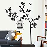 Black Leaves Tree Birds Birdcage Wall Decal Home Sticker Paper Removable Living Dinning Room Bedroom Kitchen Art Picture Murals DIY Stick Girls Boys kids Nursery Baby Playroom Decoration