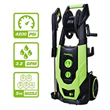PowRyte Elite Washer,4200PSI 3.2GPM Electric Pressure Washer with Hose Reel,Electric Power Washer with 5 Quick-Connect Spray Tips and Wand,Car Washer(Green)