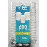 600 PCS. Café Express 3 oz.(88ml) Multi-Purpose Cups Paper Bath Cups, Multi-Use- 3 Ounce Bathroom cups, 600 PCS.