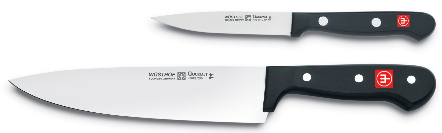 WÜSTHOF Gourmet Two Piece Cook's Knife Set | 2-Piece German Knife Set with 8'' Chef's Knife & 4'' Utility Knife | Precise Laser Cut High Carbon Stainless Steel Kitchen Cook's Knife Set - Model 9654