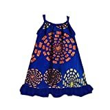 Whitive Baby Toddler Girls' African Style Casual Fine Cotton Sundress Blue 3XL