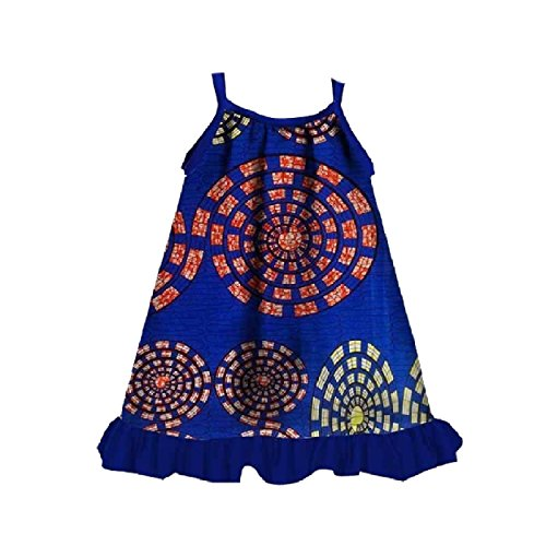 Whitive Baby Toddler Girls' African Style Casual Fine Cotton Sundress Blue S