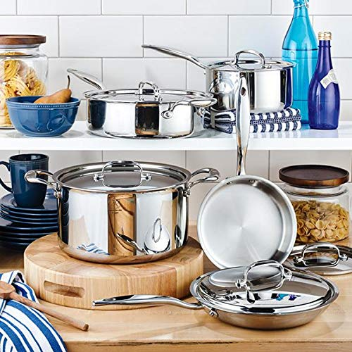 Heritage Steel 10 Piece Core Set, 7-Ply Stainless Steel Cookware with 316Ti Surface, Made in ()
