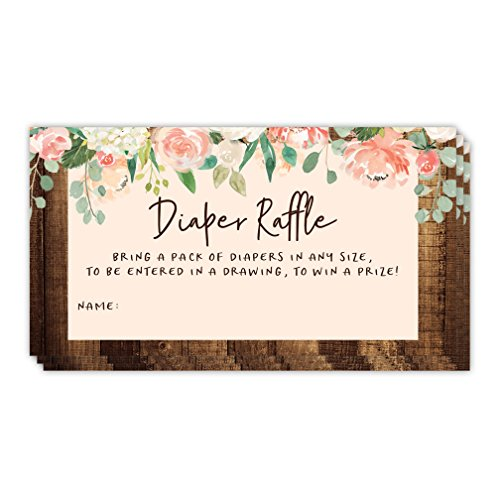 Baby Shower Party Diaper Tickets Enter Raffle Drawing Game 48 Pack Guest Invitation Inserts Pink Flowers Rustic Barnwood Fill in Name Cards Win Prizes Mom to Be Infant Girl 3.5 x 2 Inches Digibuddha ()