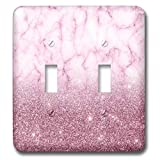 3dRose Anne Marie Baugh - Glitter and Bling - Chic Faux Digitally Printed Purple Glitter and Marble Flat Design - Light Switch Covers - double toggle switch (lsp_289237_2)
