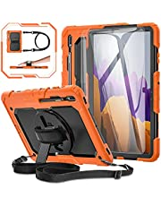 """Samsung Galaxy Tab S7 Plus/ S7+ 12.4"""" Case 2020 [with Tempered Glass Screen Protector], BASE MALL Full Body Protective Tablet Case, 360° Rotating Kickstand/S Pen Holder/Shoulder & Hand Strap (Orange)"""