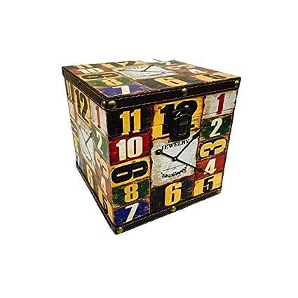 Pide X esa Boca Reloj Cubo G Caja de Madera Forrada en Vinilo con Cierre metálico
