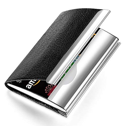 2011 Co Signers Card - NOMĒ Slim Black Leather Business Card Case Holder - Mens Womens Credit Card Pocket Wallet