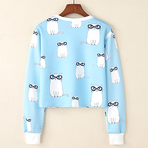 Fille shirt Acvip Imprimé Col T Casual Rond Animal Lunette Femme Top Chat g11w5