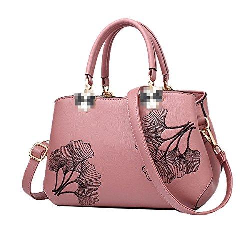 Bolso De Mano De Señora Fashion Impreso Top Handle Bag Pu Bolsa De Hombro De Cuero Para Mujeres Pink