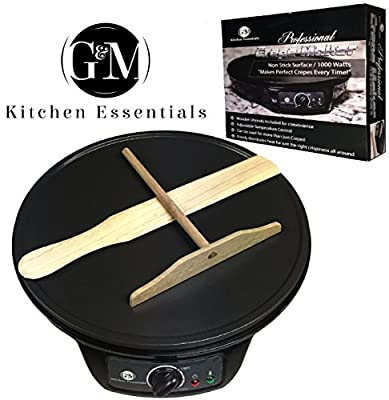 "Professional Crepe Maker Machine by G&M Kitchen Essentials - Non-Stick 12"" Electric Pancake Griddle -Adjustable Temperature Dial - BONUS Batter Spreader & Wooden Spatula"
