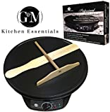 "Professional Crepe Maker Machine by G&M Kitchen Essentials – Non-Stick 12"" Electric Pancake Griddle –Adjustable Temperature Dial – BONUS Batter Spreader & Wooden Spatula"