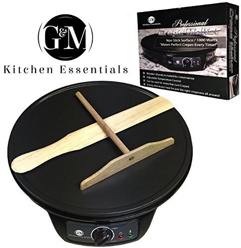 """Crepe Maker Machine Pancake Griddle – Nonstick 12"""" Electric Griddle – Pancake Maker, Batter Spreader, Wooden..."""