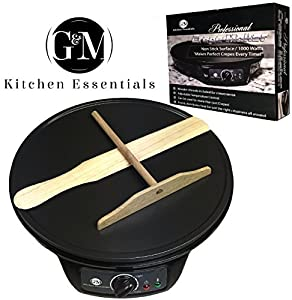 "Professional Crepe Maker Machine by G&M Kitchen Essentials – Non-Stick 12"" Electric Pancake Griddle –Adjustable Temperature Dial – BONUS Batter Spreader & Wooden Spatula – Awesome for making crepes"