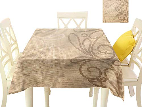 WilliamsDecor Square Tablecloth Beige,Interwoven Effect Flowers Table Cover W 70
