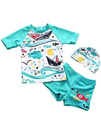 SUPEYA Baby Boys Girls Cartoon Fish Swimsuits Separate Rash Guards Swimwear with Hat