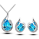 Sumanee Teardrop Crystal Earring Pendant Chain Necklace Jewelry Set White Gold Plated