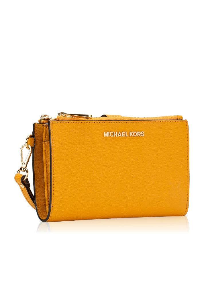 Michael Kors Large Jet Set Travel Phone Case Double Zip Leather Wristlet Wallet in Marigold (Marigold) by Michael Kors (Image #3)