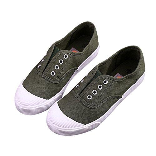 Kvinnor Duk Slip-on Tillfälliga Lägenheter Andas Cap-toe Mode Sneakers Mörkgrön-1019