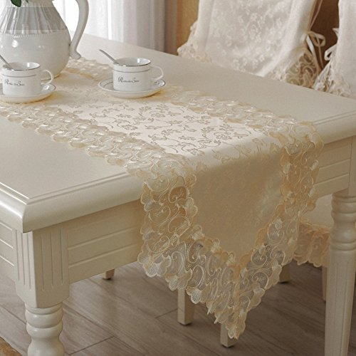 Hughapy High-grade Table Runner Embroidery Lace Table Flag, Cream-colored Table Cloth (15.7 X 71 Inch)