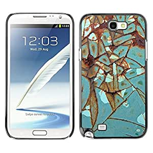 Caucho caso de Shell duro de la cubierta de accesorios de protección BY RAYDREAMMM - Samsung Galaxy Note 2 N7100 - Iron Rust Metal Turquoise