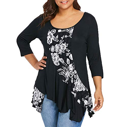 Fashion Women O-Neck 3/4 Sleeve Plus Size Floral Asymmetric T-Shirt Tops Blouse -