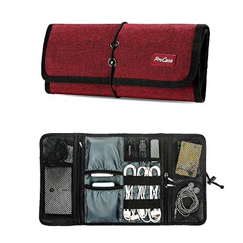 ProCase Accessories Bag Organizer, Universal Electronics Travel Gadgets Carrying Case Pouch for Charger USB Cables SD Memory Cards Earphone Flash Hard Drive –Red