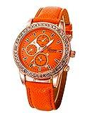 Womens Quartz Watch,POTO JY-258 2017 New Female Ladies Women Rhinestone Crystal Leather Analog Wrist Bracelet Watch Gift