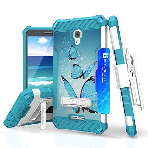 Alcatel Allura/Pop 4 Plus/Fierce 4 - Case Bundle: [Blue Butterfly] Military Grade Shockproof Case + Holster Clip, Atom LED, Glass Screen Protector, 18W Quick Charge 2.0 Car Charger, USB Cable (Blue Butterfly Charger)
