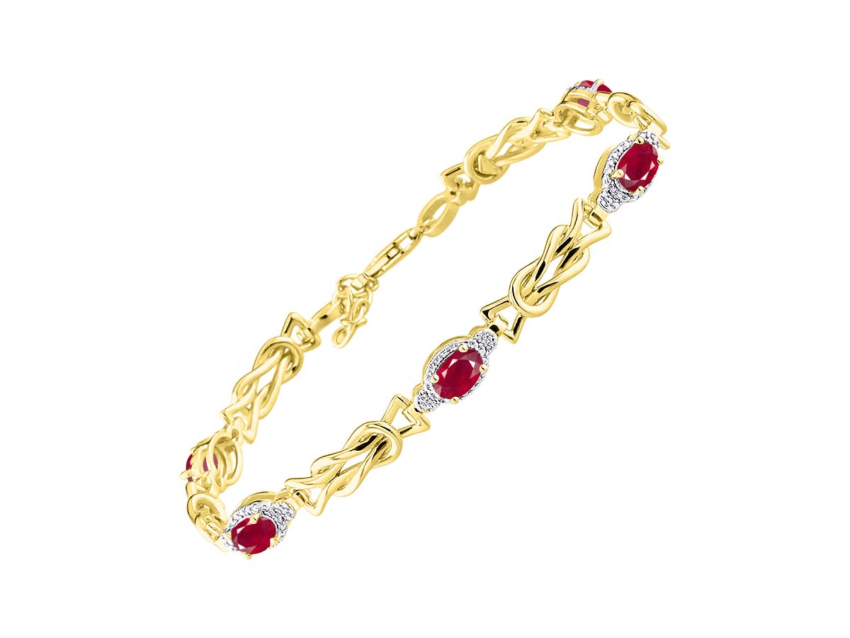 Stunning Ruby & Diamond Love Knot Tennis Bracelet Set in Yellow Gold Plated Silver - Adjustable to fit 7'' - 8'' Wrist