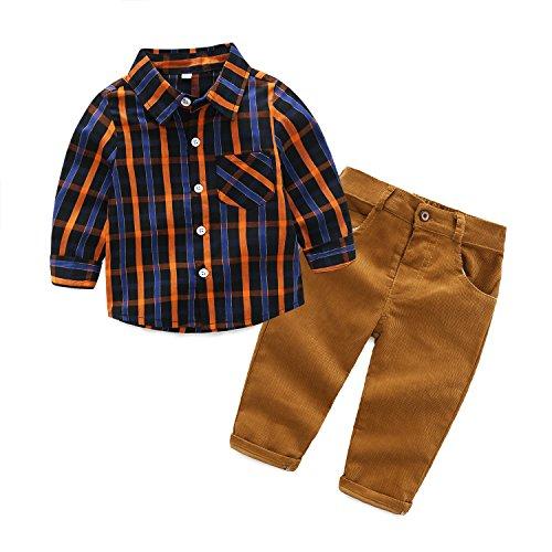 Kimocat 2Pcs Baby Boys Clothes Long Sleeve Plaid Shirt+Pants Overalls Clothing Set (12-18month(90#)) (Suit Plaid Cotton)