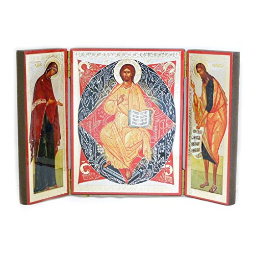 Religious Gifts Russian Icon Desis Jesus Christ Virgin Mary St John Baptist Triptych 4 Inch (Saint Icons)